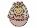 Houten baby decoratie roze 3 x 3,5 cm 5 stuks per zakje