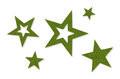 Vilt decoratie sterren groen afm. 2,3,5 & 7 cm. per zakje