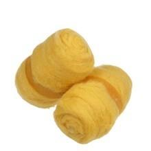 Gekaarde wol geel 100 gram per bol