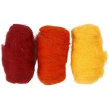 Gekaarde wol 3 bolletjes van 10 gram rood oranje geel set