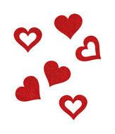 Vilt  hartjes rood 16 stuks per zakje