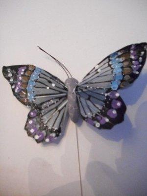 Vlinder blauw paars per stuk