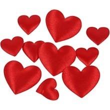 Satijnen hartjes rood