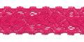 Gehaakt kant elastisch 22 mm breed knal roze per meter