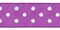 Organza lint paars 25 mm breed met stippen per meter