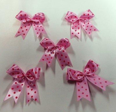 Strikje roze met fuchsia stippen 4 x 4,5 cm 5 stuks