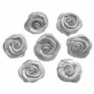Satijnen roosje zilver grijs 15 mm 10 stuks per zakje