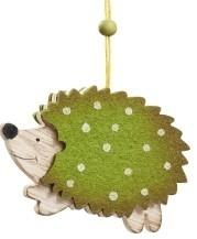 Egel hanger groen met witte stipper 7 x 9 cm per stuks