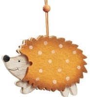 Egel hanger oranje met witte stipper 7 x 9 cm per stuks