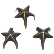 Studs ster bronskleurig 12 mm 10 stuks per zakje