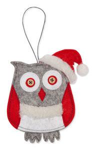 Vilt kerst hanger uil per stuk