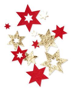 Vilt sterren goud rood per zakje