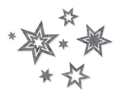 Vilt sterren sierlijk grijs per zakje