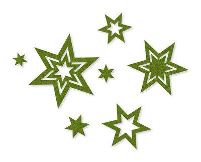 Vilt sterren sierlijk groen per zakje