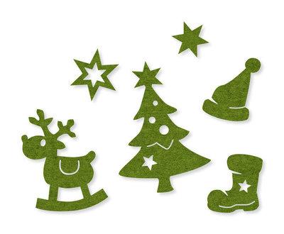 Vilt figuren kerst groen per zakje