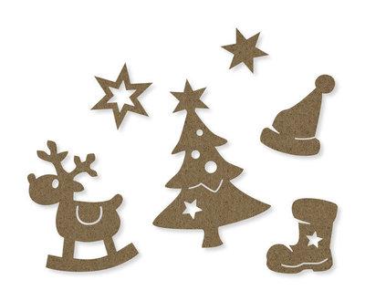 Vilt figuren kerst bruin per zakje