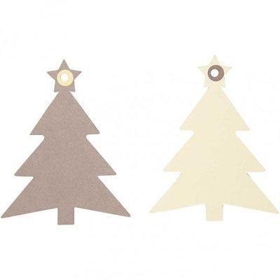 Labels kerstboom creme bruin afm 10,5x8,3 cm 20 assorti per zakje