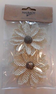 Jute bloemen licht bruin 2 per zakje