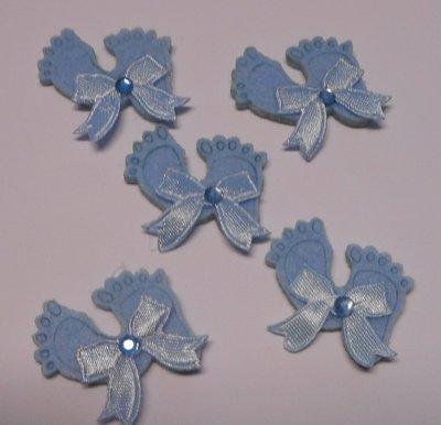 Vilten voetjes blauw 5 stuks per zakje
