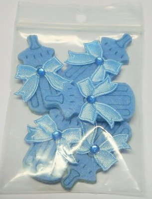 Vilten flesjes blauw 5 stuks per zakje