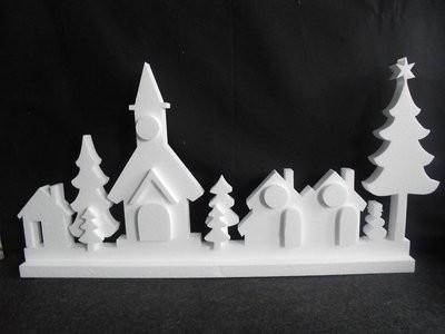 Piepschuim kerst dorp 75 x 38 x 3 cm onderzijde 7 cm breed 19 delig