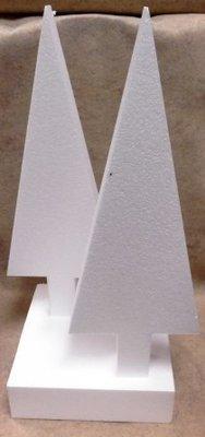Piepschuim kerst driehoek boom met onderplaat set