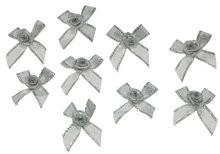 Strik zilver met zilvere roosje 3 x 3 cm 5 stuks per zakje
