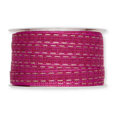 Stiksel band fuchsia 12  mm breed per meter