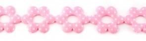 Bloemenband met stippen roze 2,5 cm breed per meter