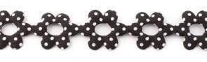 Bloemenband met stippen zwart per meter