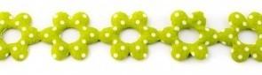 Bloemenband met stippen fel groen 2,5 cm breed per meter