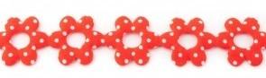 Bloemenband met stippen rood 2,5 cm breed per meter