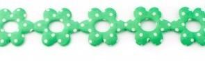 Bloemenband met stippen groen 2,5 cm breed per meter