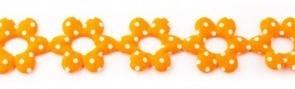 Bloemenband met stippen oranje 2,5 cm breed per meter