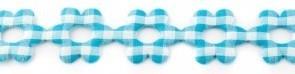 Bloemenband met geruit blauw 2,5 cm breed per meter