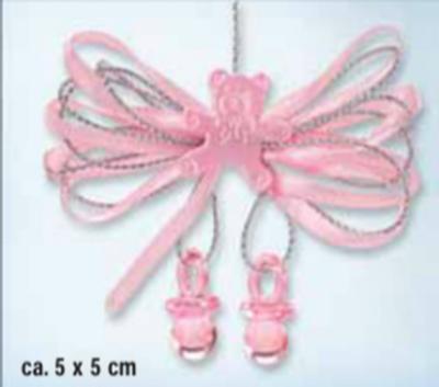 Baby strik roze met beertje per stuk
