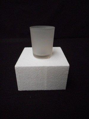 Piepschuim kubus met waxine lampje per stuk