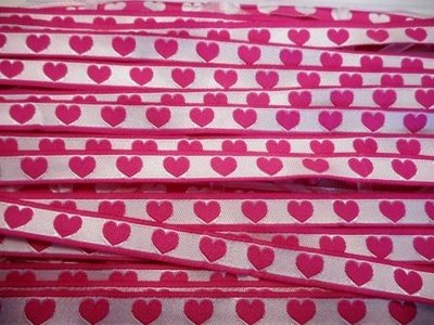 Lint hartjes fuchsia 10 mm breed per meter