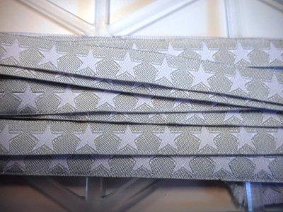 Lint ster wit grijs 10 mm breed per meter