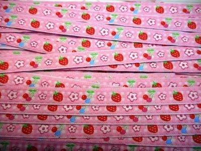 Lint roze aardbei 10 mm breed per meter