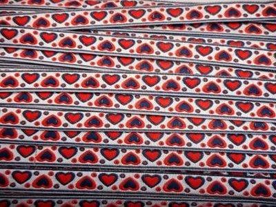 Lint hartjes blauw rood 10 mm breed per meter