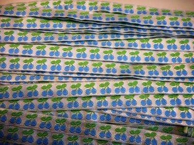 Lint kersjes blauw 10 mm breed per meter