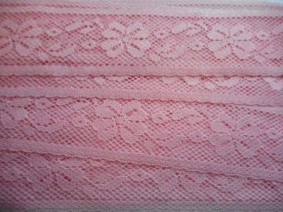 Elastisch kant licht roze 45 mm breed per meter