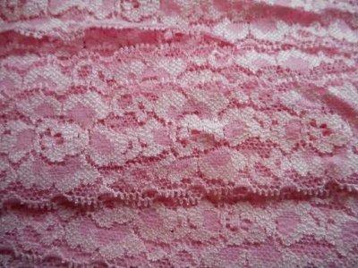 Elastisch kant licht roze 40 mm breed per meter