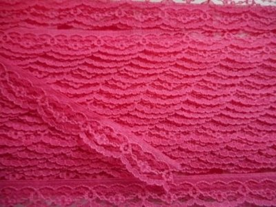 Kant fuchsia roze boogjes bloemen 17 mm breed per meter