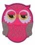 Opstrijk applicaties uil fel roze 5,5 x 7 cm per stuk