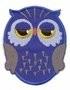 Opstrijk applicaties uil blauw 5,5 x 7 cm per stuk