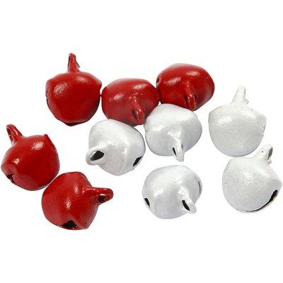 Belletjes rood en wit 8 mm 20 stuk per zakje