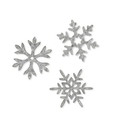Vilt ijssterren grijs gemeleerd 6 stuks per zakje