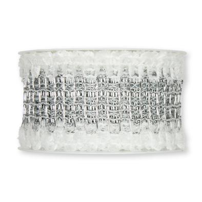 Net band zilver met pluche rand 5 cm breed per meter